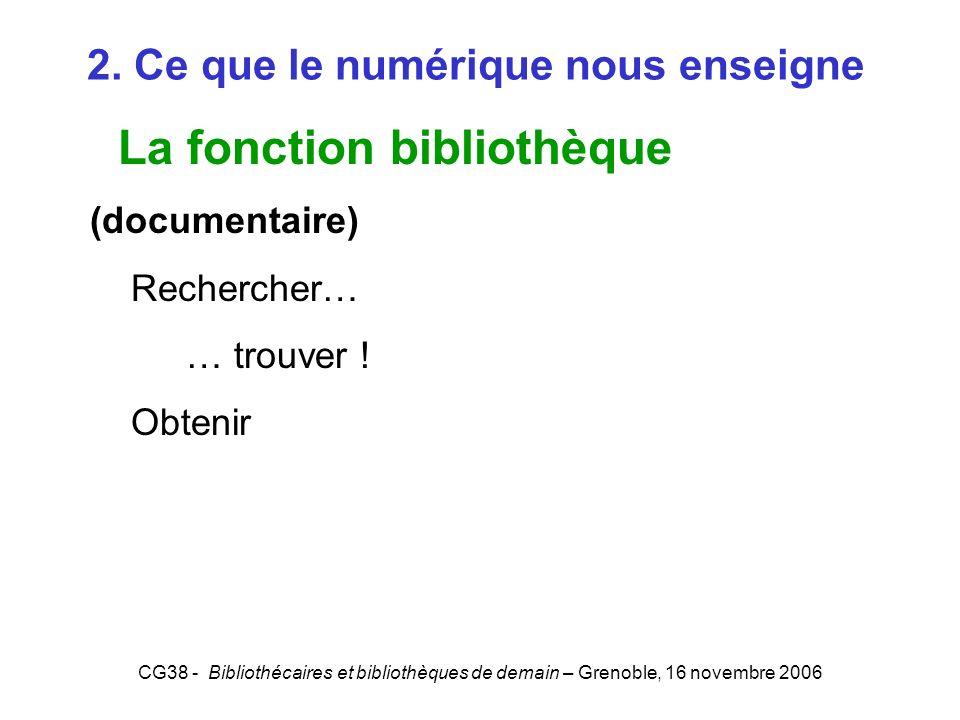 CG38 - Bibliothécaires et bibliothèques de demain – Grenoble, 16 novembre 2006 2. Ce que le numérique nous enseigne La fonction bibliothèque (document