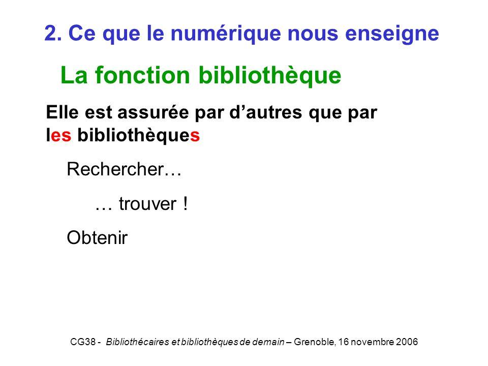 CG38 - Bibliothécaires et bibliothèques de demain – Grenoble, 16 novembre 2006 2. Ce que le numérique nous enseigne La fonction bibliothèque Elle est