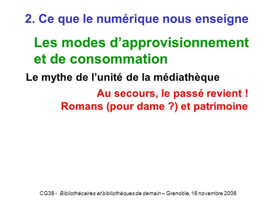CG38 - Bibliothécaires et bibliothèques de demain – Grenoble, 16 novembre 2006 2. Ce que le numérique nous enseigne Les modes dapprovisionnement et de