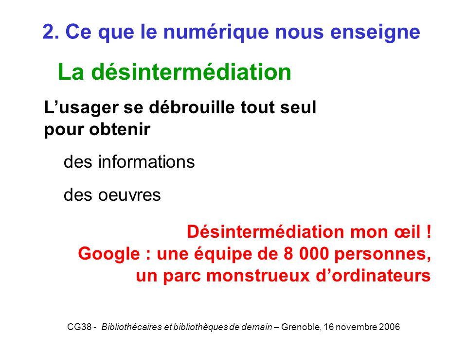 CG38 - Bibliothécaires et bibliothèques de demain – Grenoble, 16 novembre 2006 2. Ce que le numérique nous enseigne La désintermédiation Lusager se dé