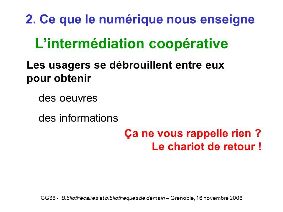 CG38 - Bibliothécaires et bibliothèques de demain – Grenoble, 16 novembre 2006 2. Ce que le numérique nous enseigne Lintermédiation coopérative Les us