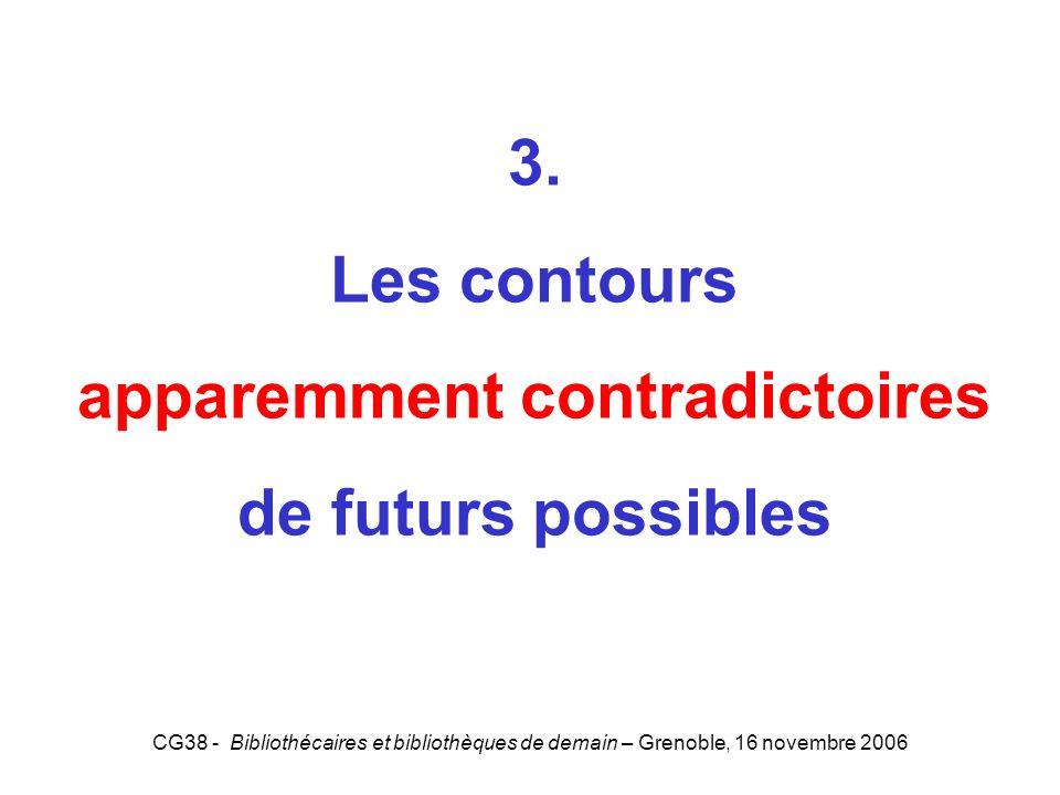 CG38 - Bibliothécaires et bibliothèques de demain – Grenoble, 16 novembre 2006 3. Les contours apparemment contradictoires de futurs possibles 3