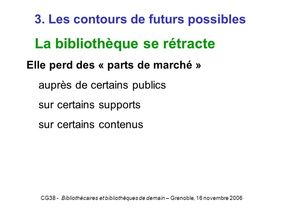 CG38 - Bibliothécaires et bibliothèques de demain – Grenoble, 16 novembre 2006 3. Les contours de futurs possibles La bibliothèque se rétracte Elle pe