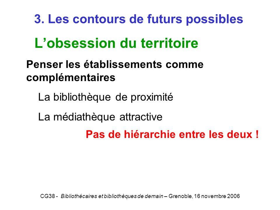 CG38 - Bibliothécaires et bibliothèques de demain – Grenoble, 16 novembre 2006 3. Les contours de futurs possibles Lobsession du territoire Penser les