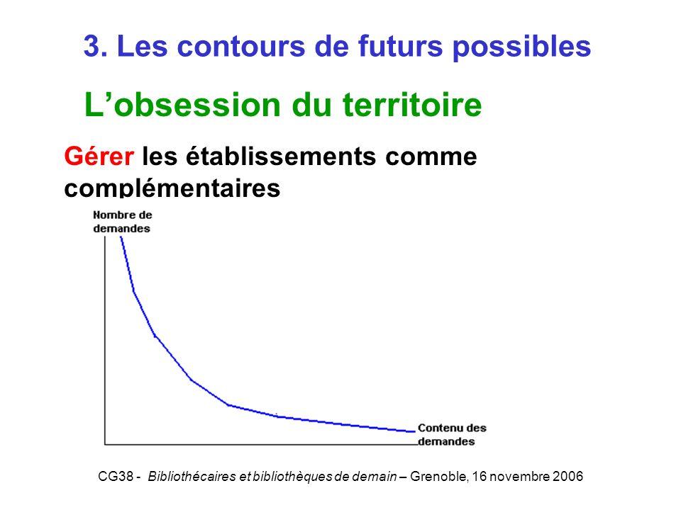 CG38 - Bibliothécaires et bibliothèques de demain – Grenoble, 16 novembre 2006 3. Les contours de futurs possibles Lobsession du territoire Gérer les