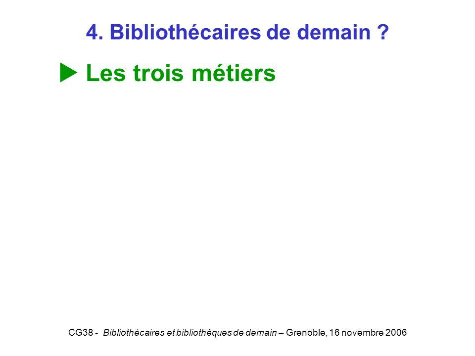 CG38 - Bibliothécaires et bibliothèques de demain – Grenoble, 16 novembre 2006 4. Bibliothécaires de demain ? Les trois métiers