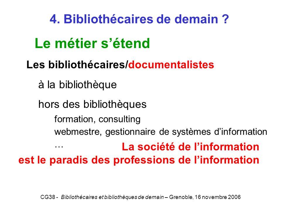 CG38 - Bibliothécaires et bibliothèques de demain – Grenoble, 16 novembre 2006 4. Bibliothécaires de demain ? Le métier sétend Les bibliothécaires/doc