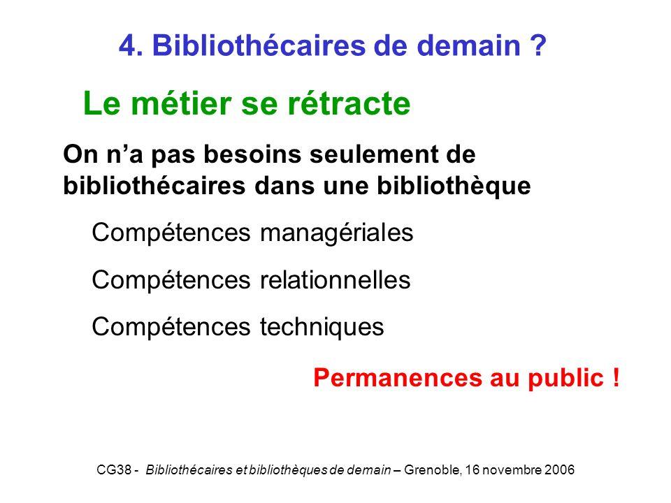 CG38 - Bibliothécaires et bibliothèques de demain – Grenoble, 16 novembre 2006 4. Bibliothécaires de demain ? Le métier se rétracte On na pas besoins