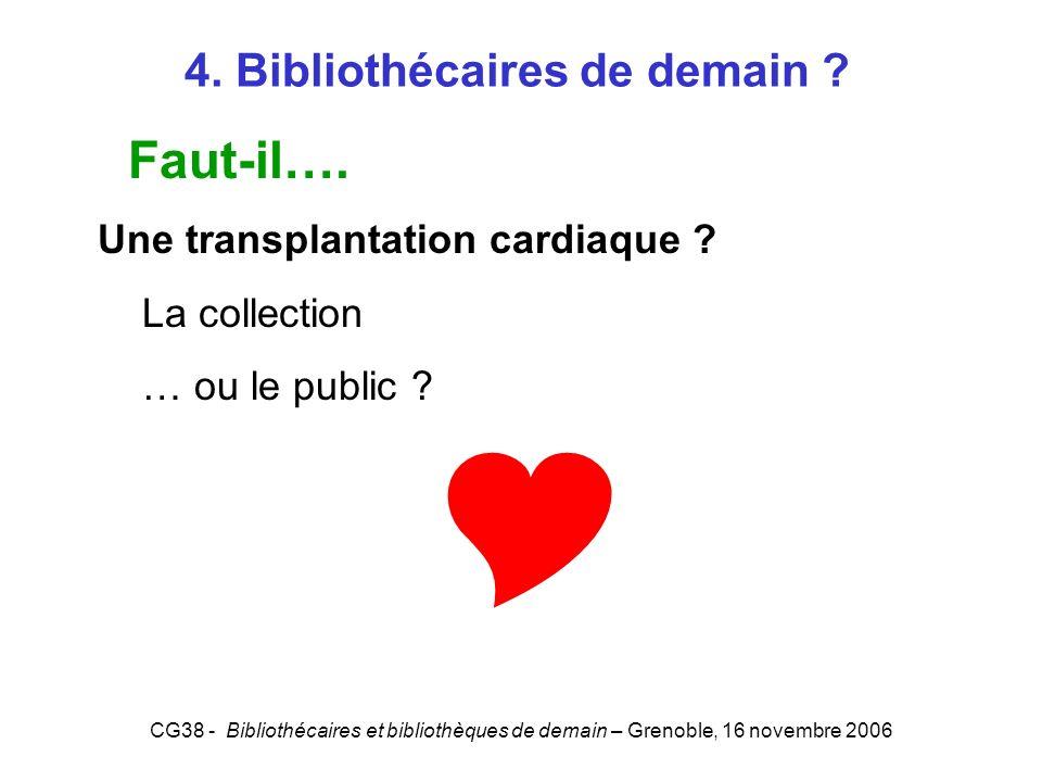 CG38 - Bibliothécaires et bibliothèques de demain – Grenoble, 16 novembre 2006 4. Bibliothécaires de demain ? Faut-il…. Une transplantation cardiaque