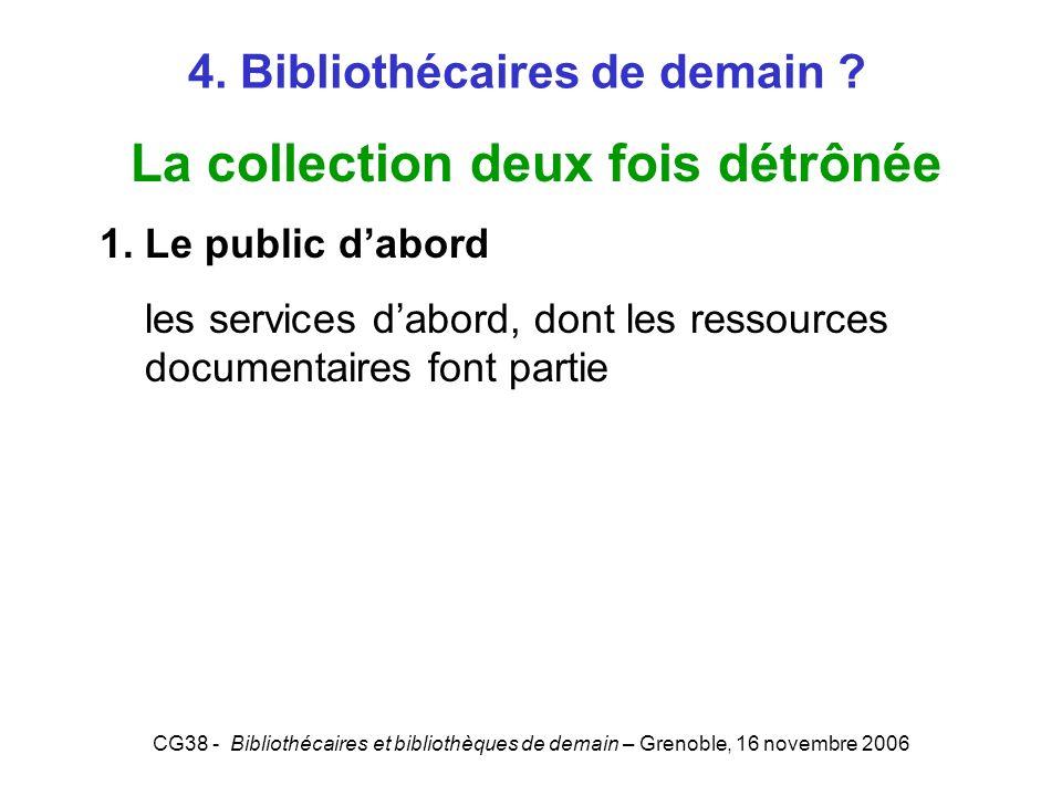 CG38 - Bibliothécaires et bibliothèques de demain – Grenoble, 16 novembre 2006 4. Bibliothécaires de demain ? La collection deux fois détrônée 1. Le p