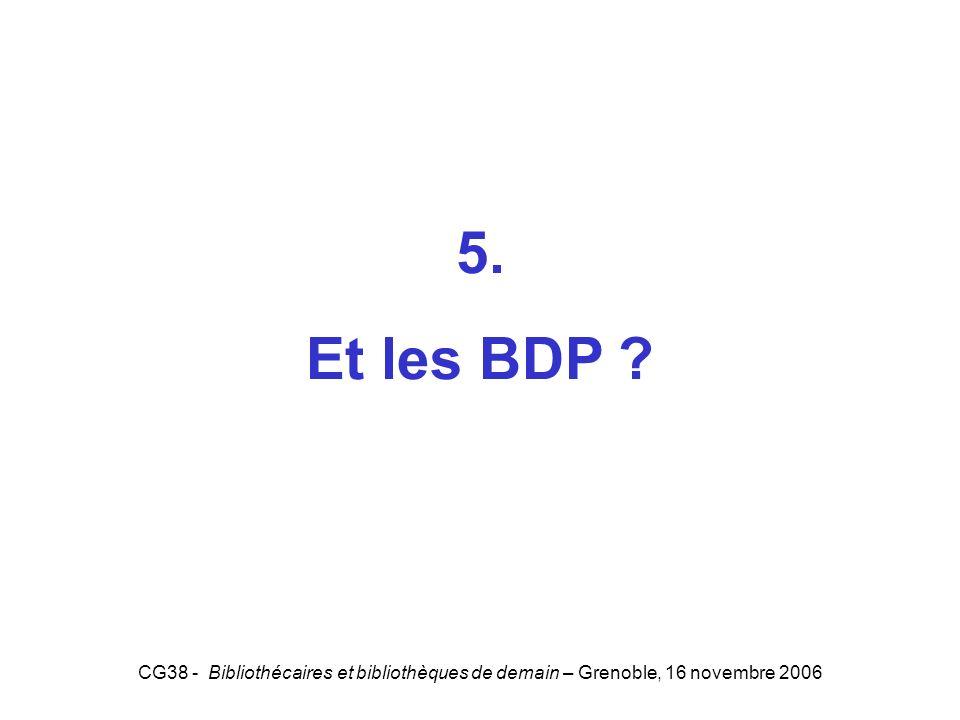 CG38 - Bibliothécaires et bibliothèques de demain – Grenoble, 16 novembre 2006 5. Et les BDP ? 5