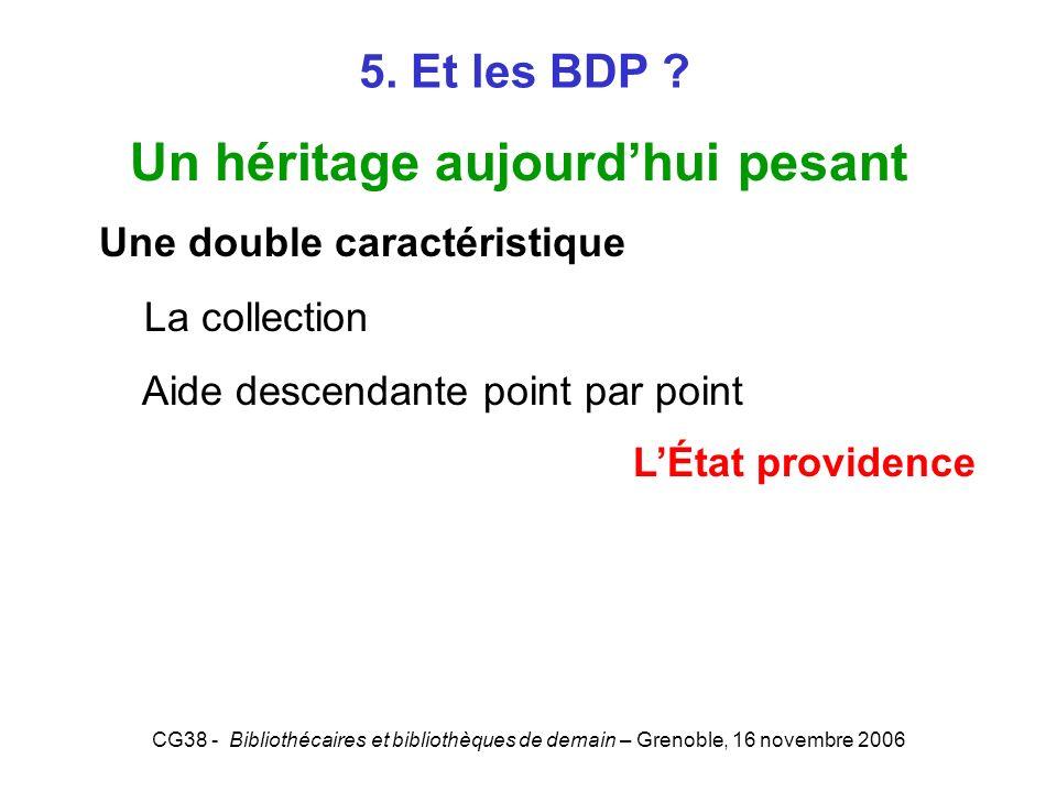 CG38 - Bibliothécaires et bibliothèques de demain – Grenoble, 16 novembre 2006 5. Et les BDP ? Un héritage aujourdhui pesant Une double caractéristiqu