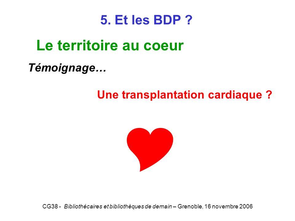 CG38 - Bibliothécaires et bibliothèques de demain – Grenoble, 16 novembre 2006 5. Et les BDP ? Le territoire au coeur Témoignage… Une transplantation