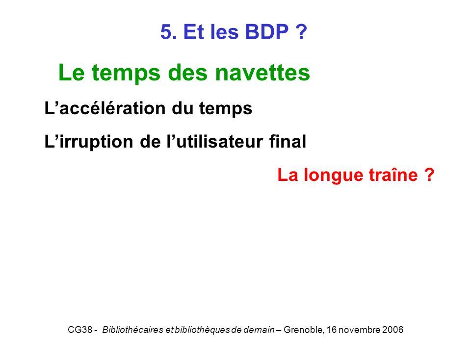 CG38 - Bibliothécaires et bibliothèques de demain – Grenoble, 16 novembre 2006 5. Et les BDP ? Le temps des navettes Laccélération du temps Lirruption