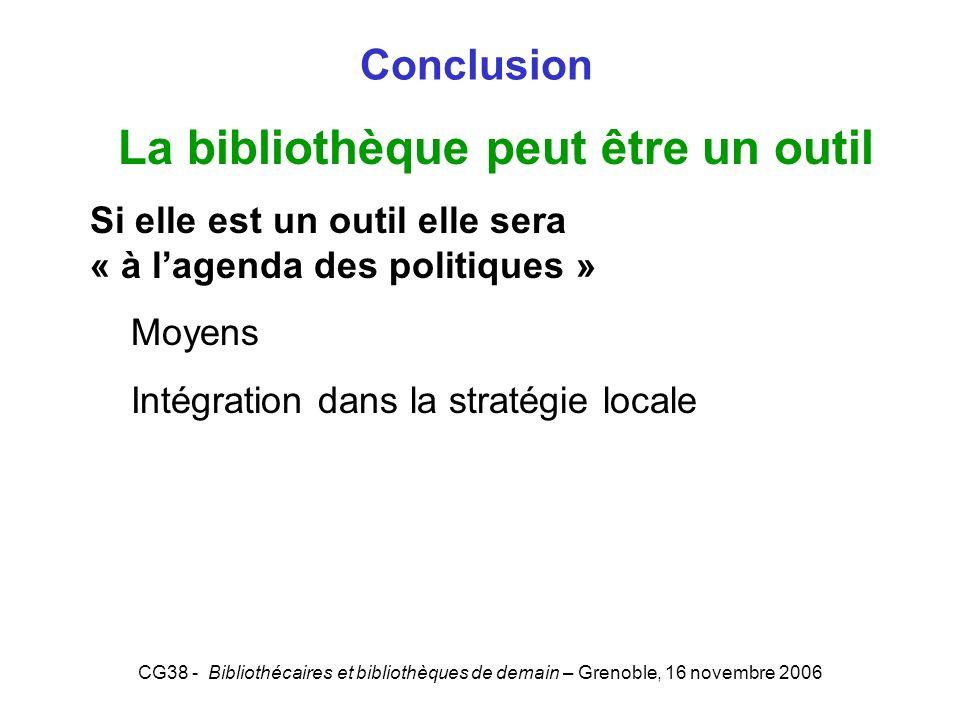 CG38 - Bibliothécaires et bibliothèques de demain – Grenoble, 16 novembre 2006 Conclusion La bibliothèque peut être un outil Si elle est un outil elle