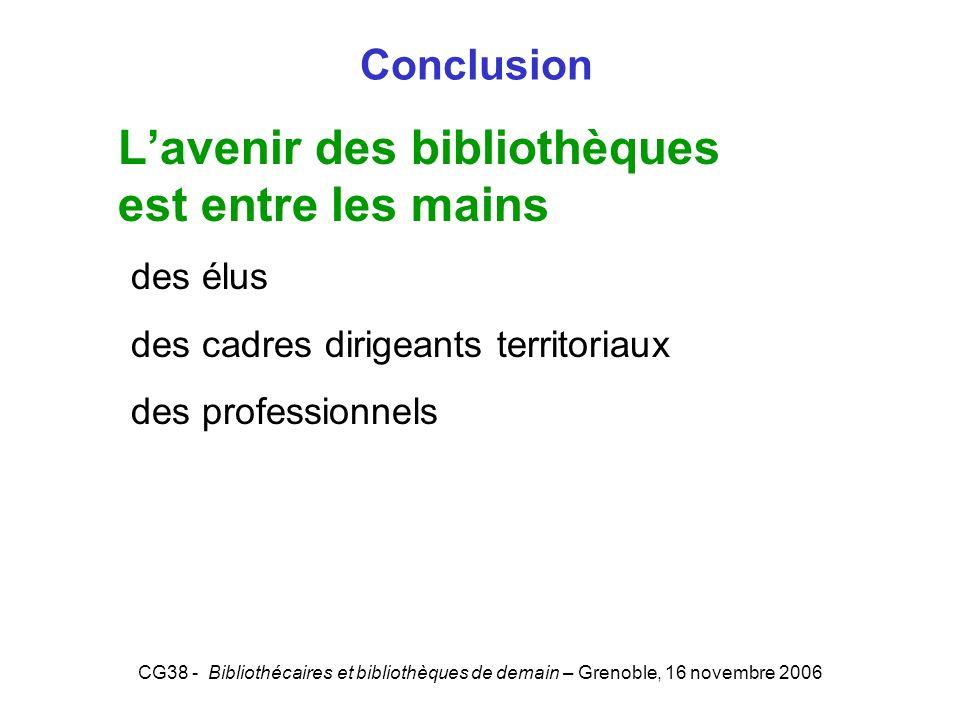 CG38 - Bibliothécaires et bibliothèques de demain – Grenoble, 16 novembre 2006 Conclusion Lavenir des bibliothèques est entre les mains des élus des c