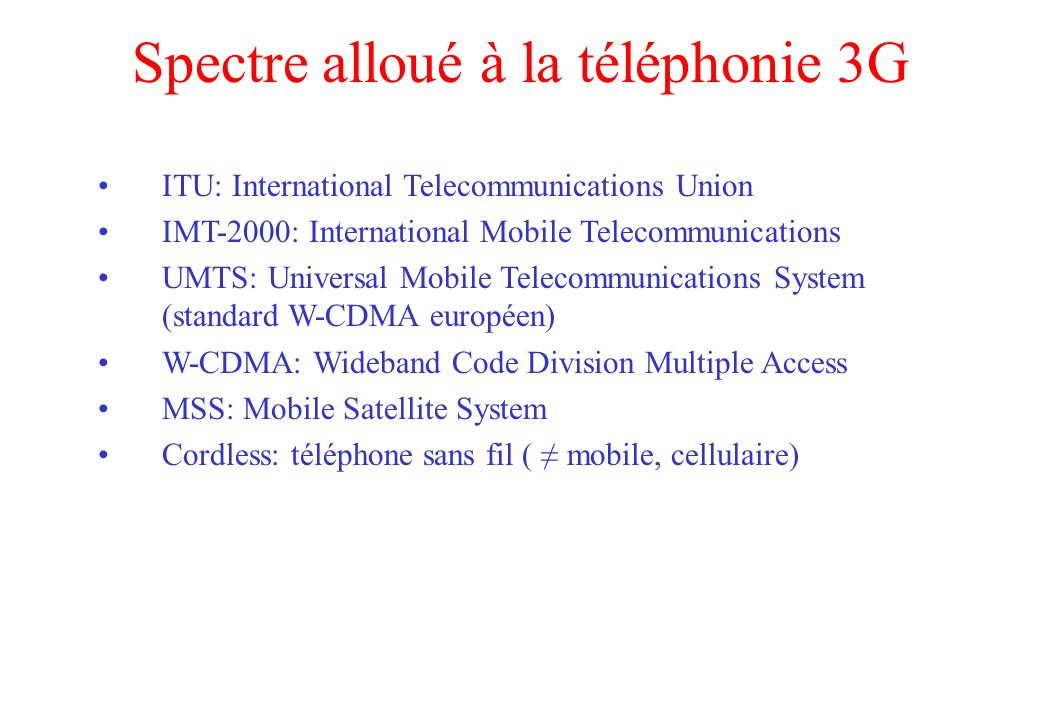 Spectre alloué à la téléphonie 3G ITU: International Telecommunications Union IMT-2000: International Mobile Telecommunications UMTS: Universal Mobile