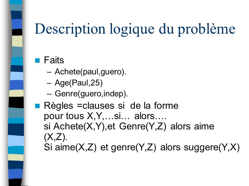 Description logique du problème Faits –Achete(paul,guero).