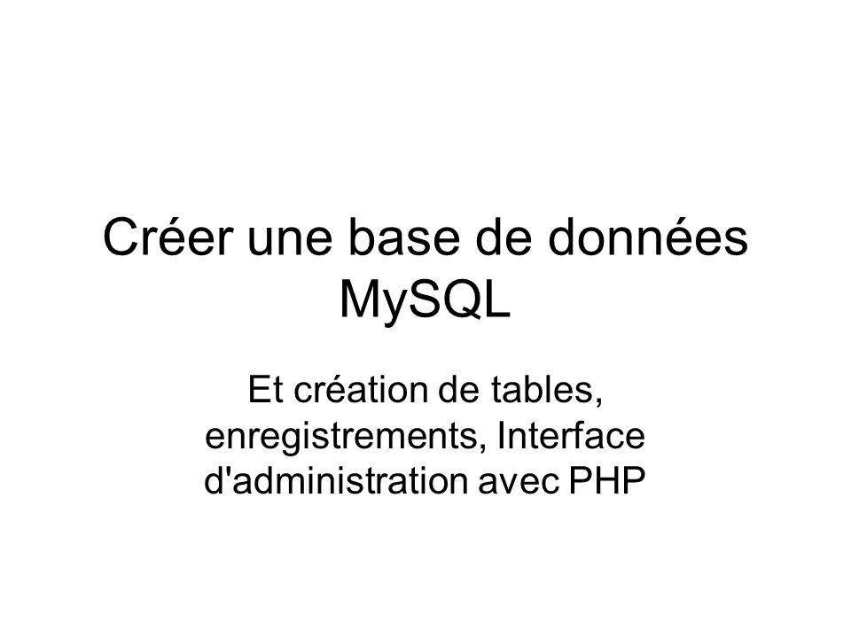 Créer une base de données MySQL Et création de tables, enregistrements, Interface d'administration avec PHP