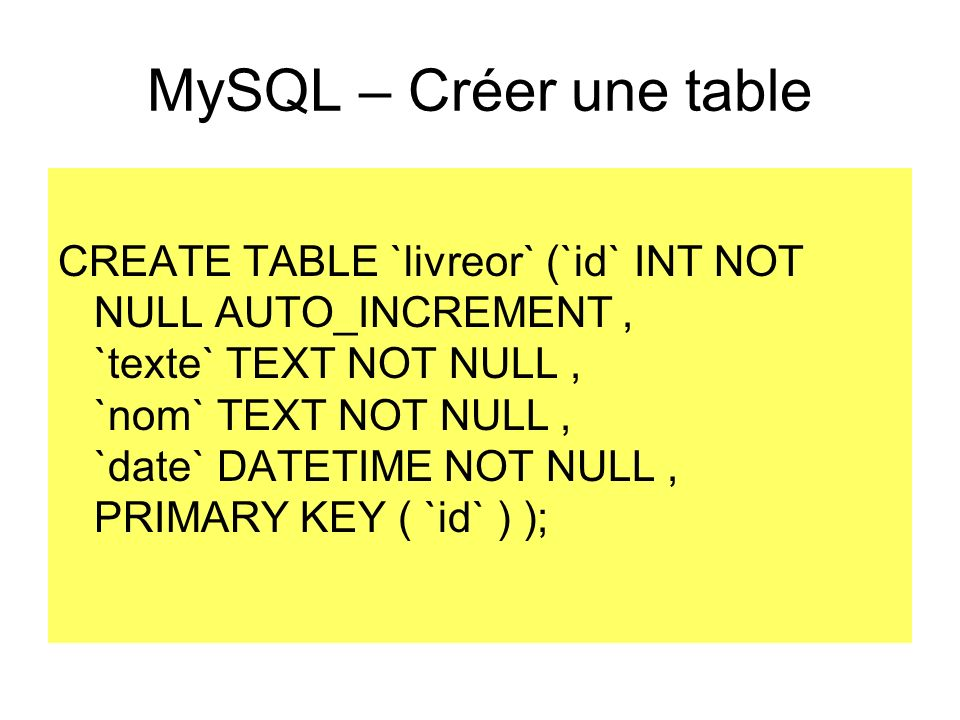 MySQL – Créer une table CREATE TABLE `livreor` (`id` INT NOT NULL AUTO_INCREMENT, `texte` TEXT NOT NULL, `nom` TEXT NOT NULL, `date` DATETIME NOT NULL