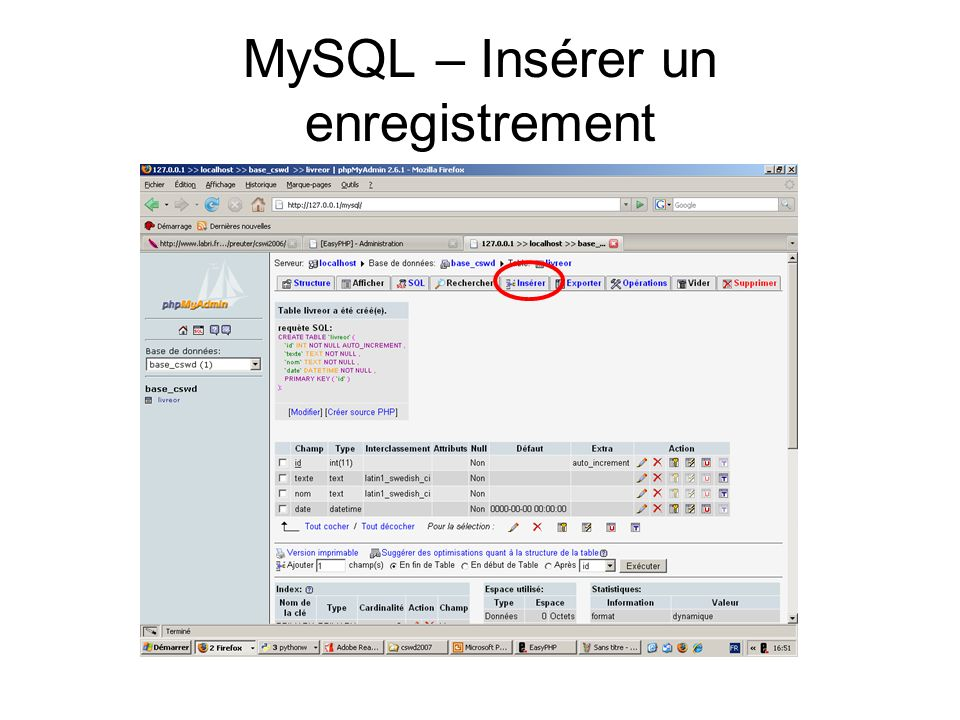 MySQL – Insérer un enregistrement