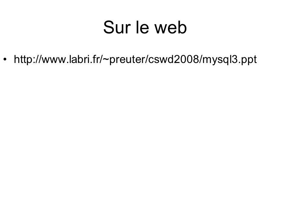 Légende Titre de la page CREATE DATABASE `base_cswd` ; <?php $a = 3; ?> <?php $a = 3; ?> h1, h2, h3 { color: red; } h1, h2, h3 { color: red; } XHTML CSS PHP MySQL