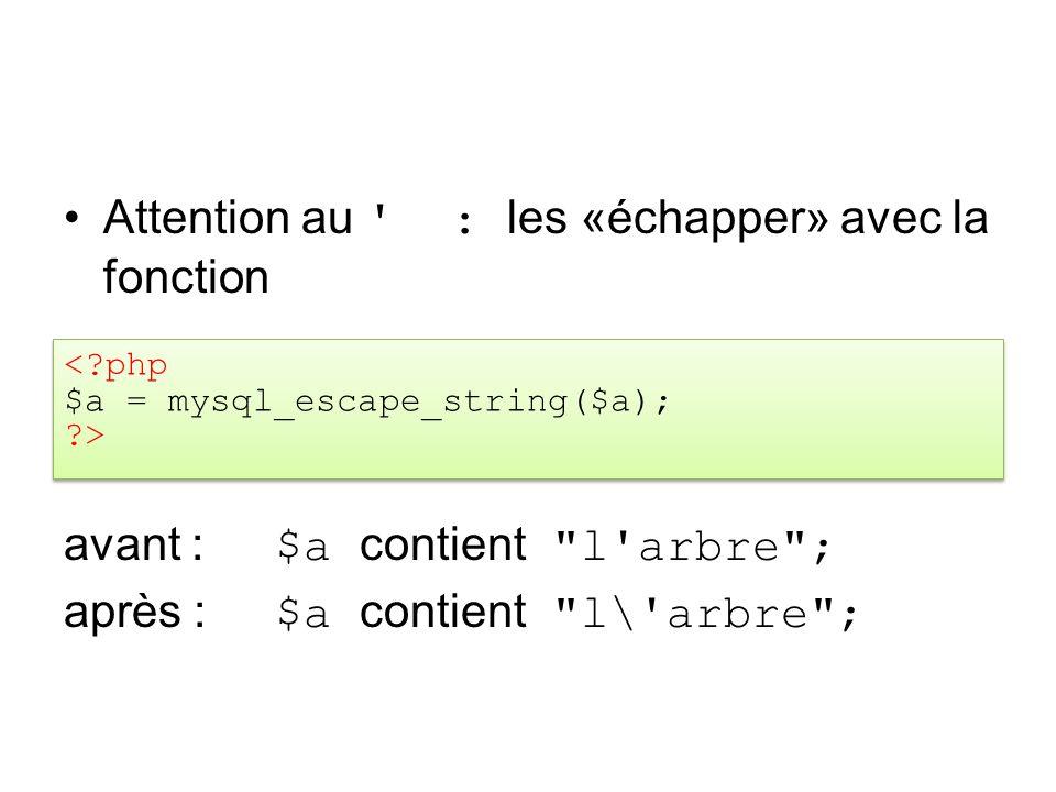 Attention au ' : les «échapper» avec la fonction avant : $a contient