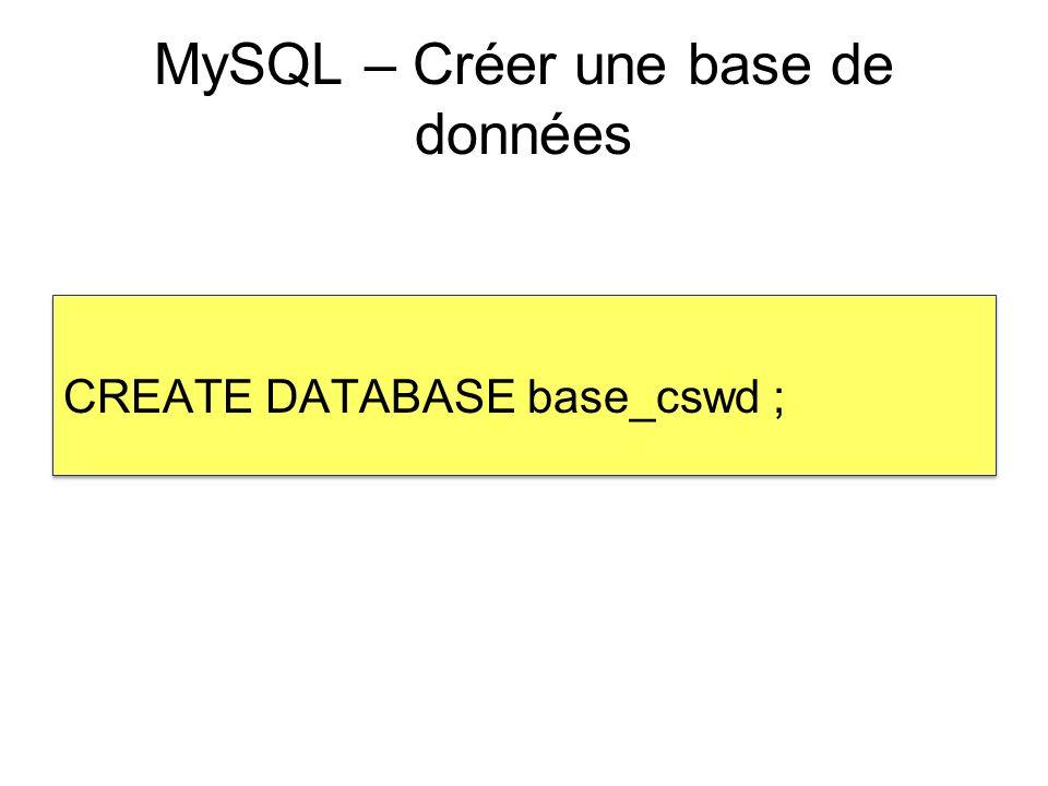Fichier connect_db.php <?php $dbhost= localhost ; $dbuser= root ; $dbpassword= ; $dbname= base_cswd ; $dblink=mysql_connect($dbhost,$dbuser,$dbpassword); $db_cswd=mysql_select_db($dbname,$dblink); function qdb($sql) { $resultat = mysql_query($sql); if (mysql_errno()) { echo MySQL error .mysql_errno(). : .mysql_error(). \n ; echo Requête MySQL : .$sql. \n ; die; } return $resultat; } ?> <?php $dbhost= localhost ; $dbuser= root ; $dbpassword= ; $dbname= base_cswd ; $dblink=mysql_connect($dbhost,$dbuser,$dbpassword); $db_cswd=mysql_select_db($dbname,$dblink); function qdb($sql) { $resultat = mysql_query($sql); if (mysql_errno()) { echo MySQL error .mysql_errno(). : .mysql_error(). \n ; echo Requête MySQL : .$sql. \n ; die; } return $resultat; } ?>