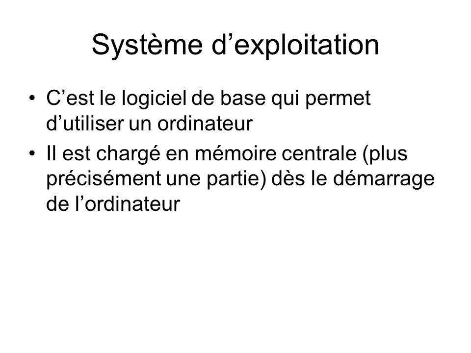 Système dexploitation Cest le logiciel de base qui permet dutiliser un ordinateur Il est chargé en mémoire centrale (plus précisément une partie) dès