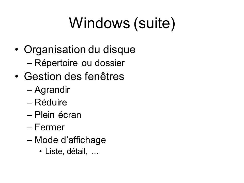 Windows (suite) Organisation du disque –Répertoire ou dossier Gestion des fenêtres –Agrandir –Réduire –Plein écran –Fermer –Mode daffichage Liste, détail, …