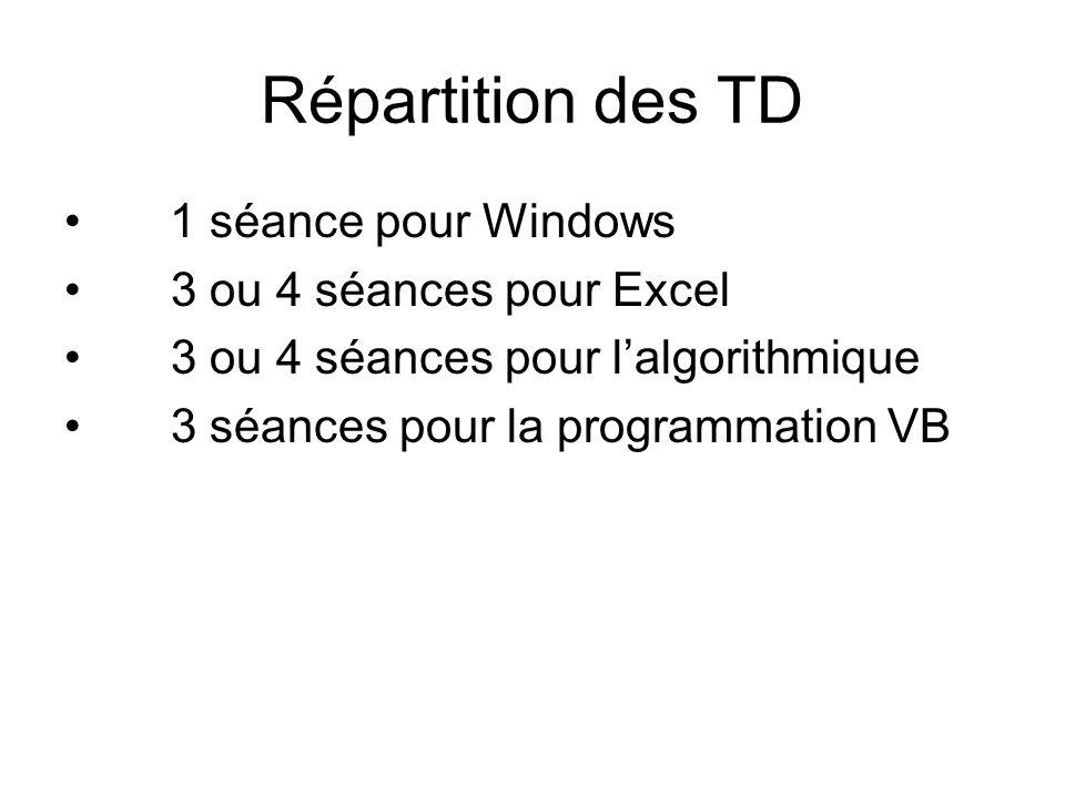 Répartition des TD 1 séance pour Windows 3 ou 4 séances pour Excel 3 ou 4 séances pour lalgorithmique 3 séances pour la programmation VB