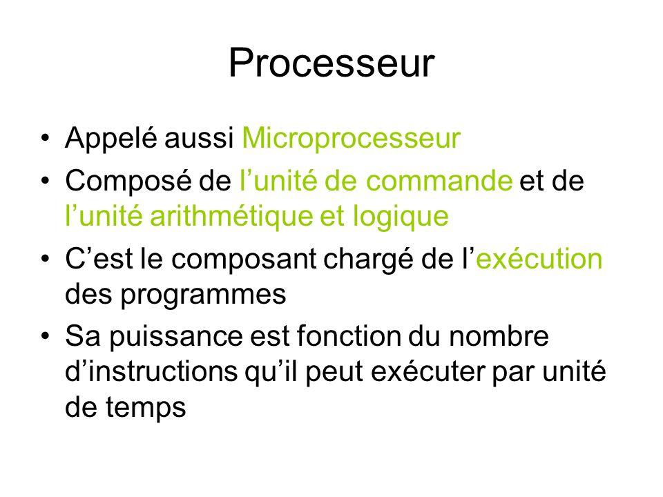 Mémoire Appelée aussi RAM (Random Access Memory) ou bien mémoire centrale (MC) Pour être exécuté, un programme doit résider dans la MC Elle est volatile (son contenu est perdu dès que lon éteint lordinateur) Sa puissance dépend de sa capacité et la vitesse à laquelle on peut accéder à une donnée