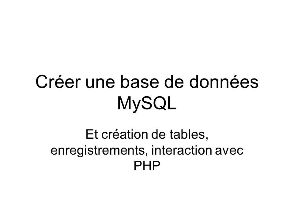Créer une base de données MySQL Et création de tables, enregistrements, interaction avec PHP