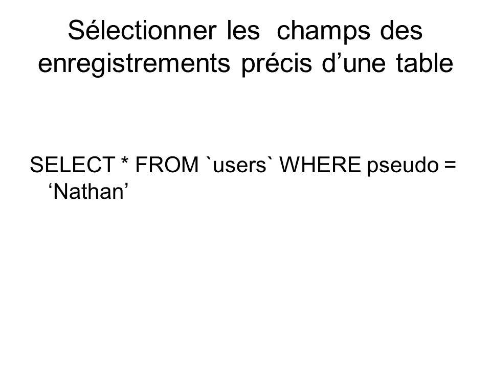 Sélectionner les champs des enregistrements précis dune table SELECT * FROM `users` WHERE pseudo = Nathan