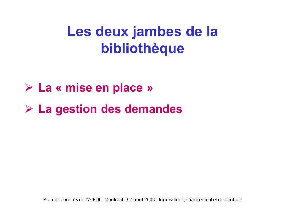 Premier congrès de lAIFBD, Montréal, 3-7 août 2008 : Innovations, changement et réseautage La « mise en place » La gestion des demandes Les deux jambes de la bibliothèque
