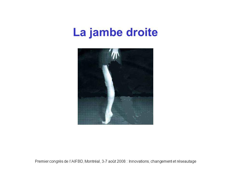 Premier congrès de lAIFBD, Montréal, 3-7 août 2008 : Innovations, changement et réseautage La jambe droite