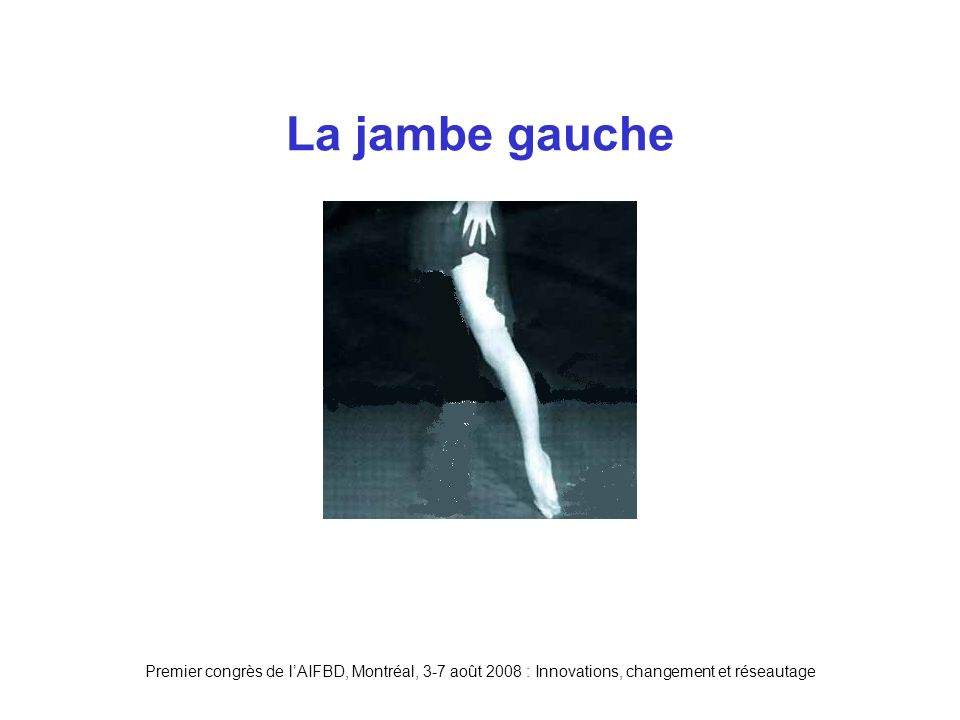 Premier congrès de lAIFBD, Montréal, 3-7 août 2008 : Innovations, changement et réseautage La jambe gauche