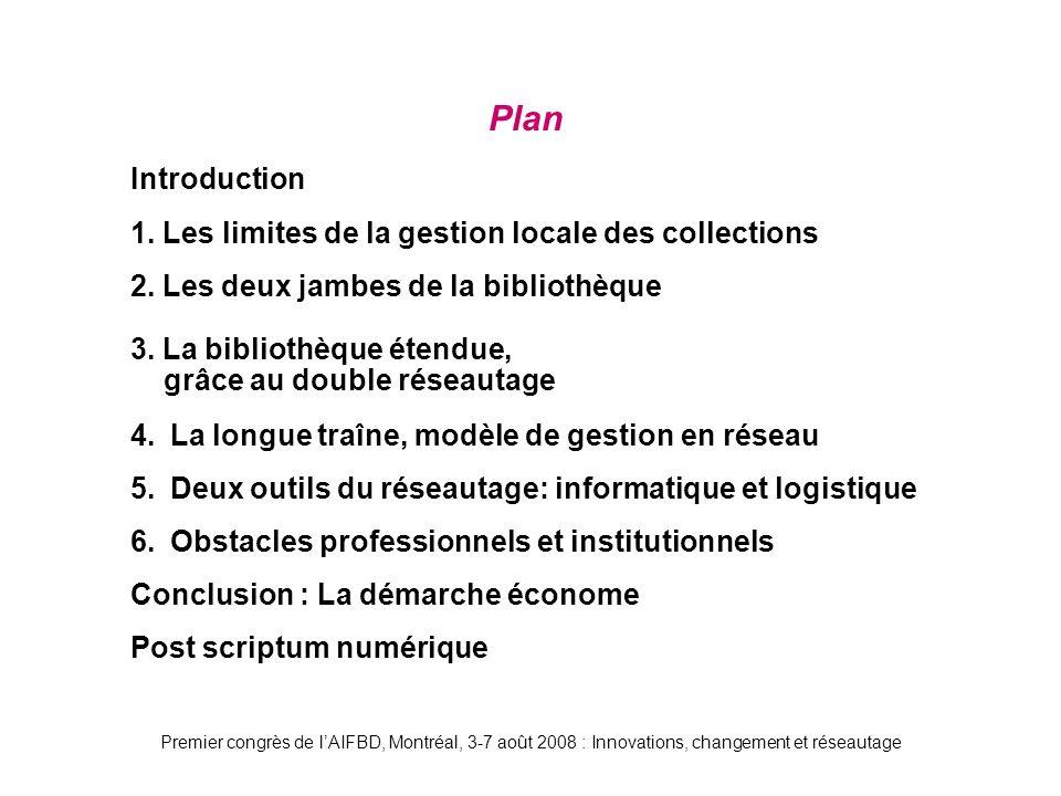 Premier congrès de lAIFBD, Montréal, 3-7 août 2008 : Innovations, changement et réseautage Plan Introduction 1.