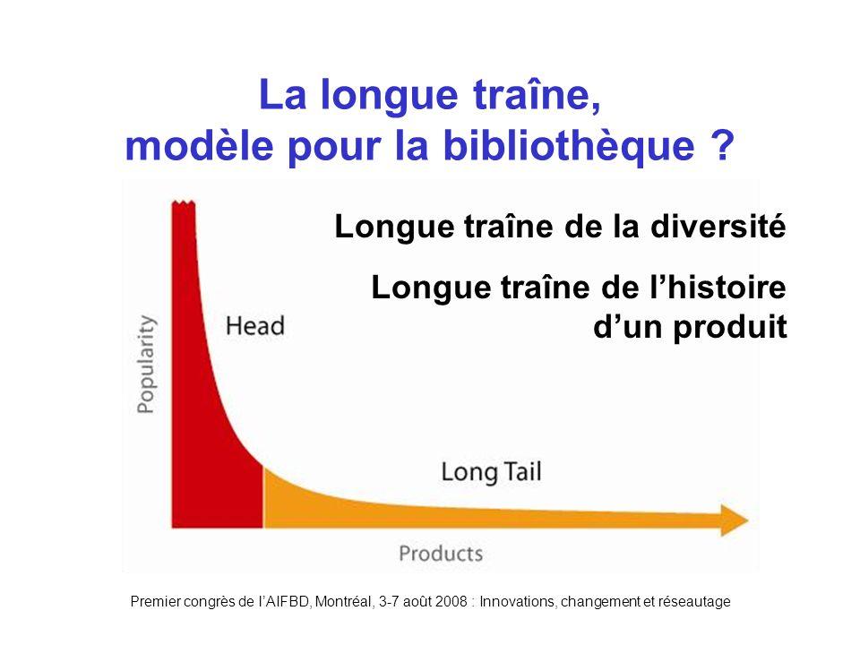 Premier congrès de lAIFBD, Montréal, 3-7 août 2008 : Innovations, changement et réseautage La longue traîne, modèle pour la bibliothèque .