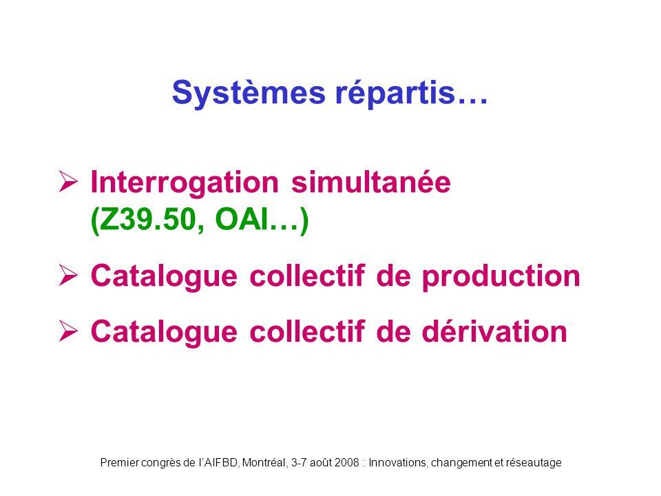Premier congrès de lAIFBD, Montréal, 3-7 août 2008 : Innovations, changement et réseautage Interrogation simultanée (Z39.50, OAI…) Catalogue collectif de production Catalogue collectif de dérivation Systèmes répartis…