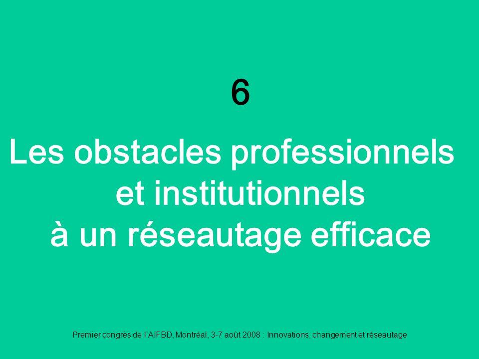 Premier congrès de lAIFBD, Montréal, 3-7 août 2008 : Innovations, changement et réseautage 6 Les obstacles professionnels et institutionnels à un réseautage efficace