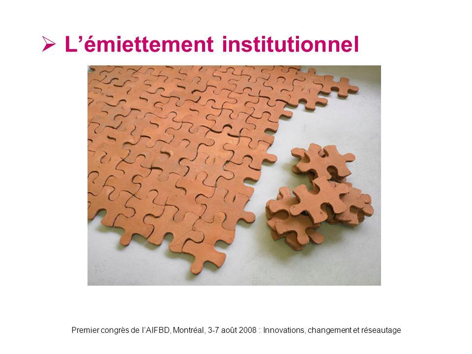 Premier congrès de lAIFBD, Montréal, 3-7 août 2008 : Innovations, changement et réseautage Lémiettement institutionnel
