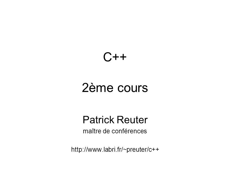 Préchauffement /* Programme écrit par Patrick Reuter */ #include // Debut du programme int main() { float radius; float circ; float aire; // Afficher le radius à lecran std::cout << « Entrer un nombre.
