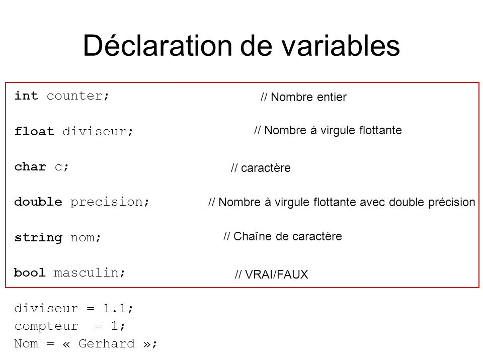 Déclaration de variables int counter; float diviseur; char c; double precision; string nom; bool masculin; diviseur = 1.1; compteur = 1; Nom = « Gerha