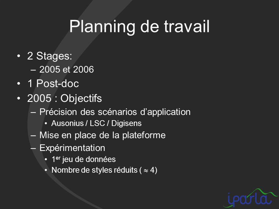 Planning de travail 2 Stages: –2005 et 2006 1 Post-doc 2005 : Objectifs –Précision des scénarios dapplication Ausonius / LSC / Digisens –Mise en place de la plateforme –Expérimentation 1 er jeu de données Nombre de styles réduits ( 4)