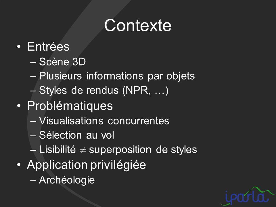 Contexte Entrées –Scène 3D –Plusieurs informations par objets –Styles de rendus (NPR, …) Problématiques –Visualisations concurrentes –Sélection au vol –Lisibilité superposition de styles Application privilégiée –Archéologie