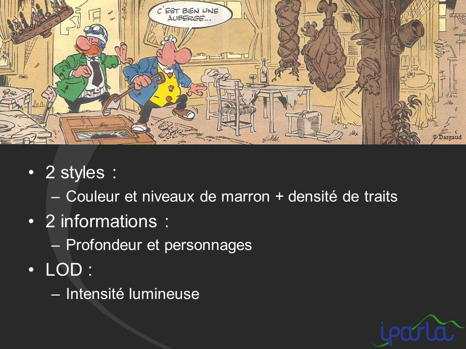 2 styles : –Couleur et niveaux de marron + densité de traits 2 informations : –Profondeur et personnages LOD : –Intensité lumineuse © Dargaud