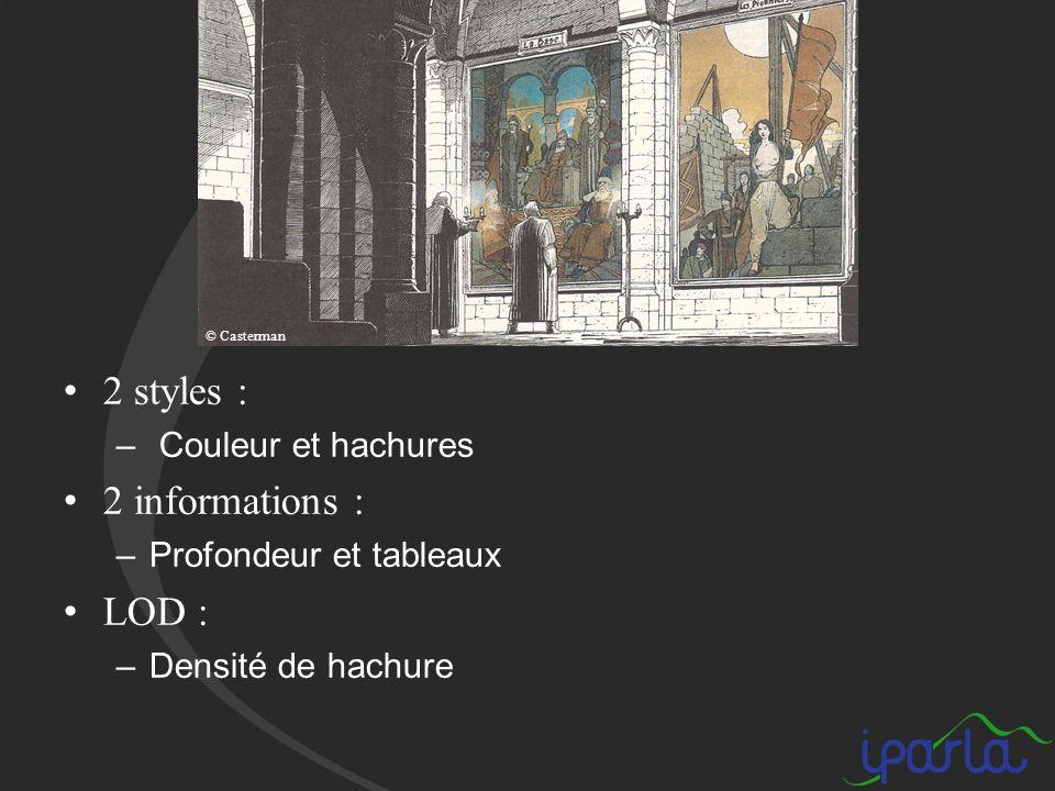 2 styles : – Couleur et hachures 2 informations : –Profondeur et tableaux LOD : –Densité de hachure © Casterman