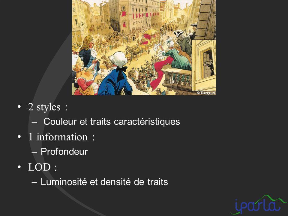 2 styles : – Couleur et traits caractéristiques 1 information : –Profondeur LOD : –Luminosité et densité de traits © Dargaud