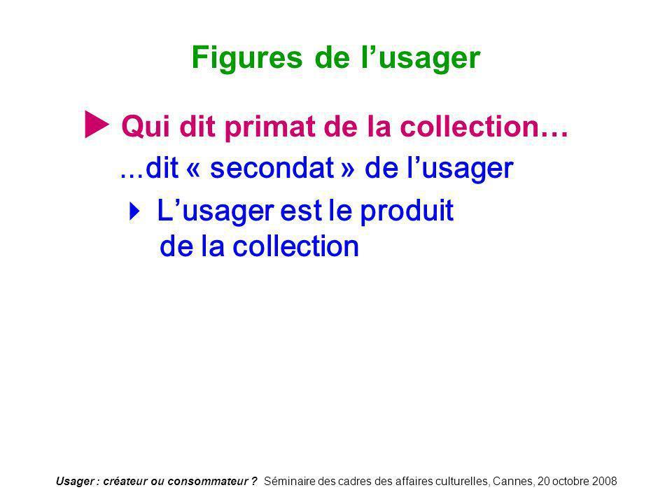 Usager : créateur ou consommateur ? Séminaire des cadres des affaires culturelles, Cannes, 20 octobre 2008 Qui dit primat de la collection… … dit « se